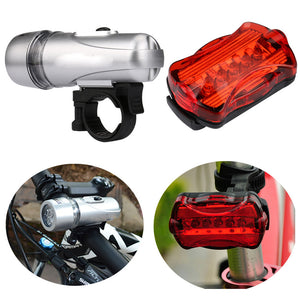 Bicycle 5 LED Lamps Front Head Light and rear safety