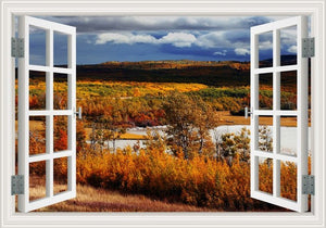 Window View Forest Landscape in Four Seasons 3D Decal