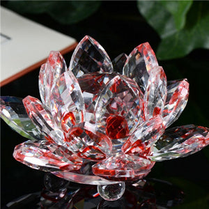 Transparent Glass Figure - Colorful Crystal Lotus