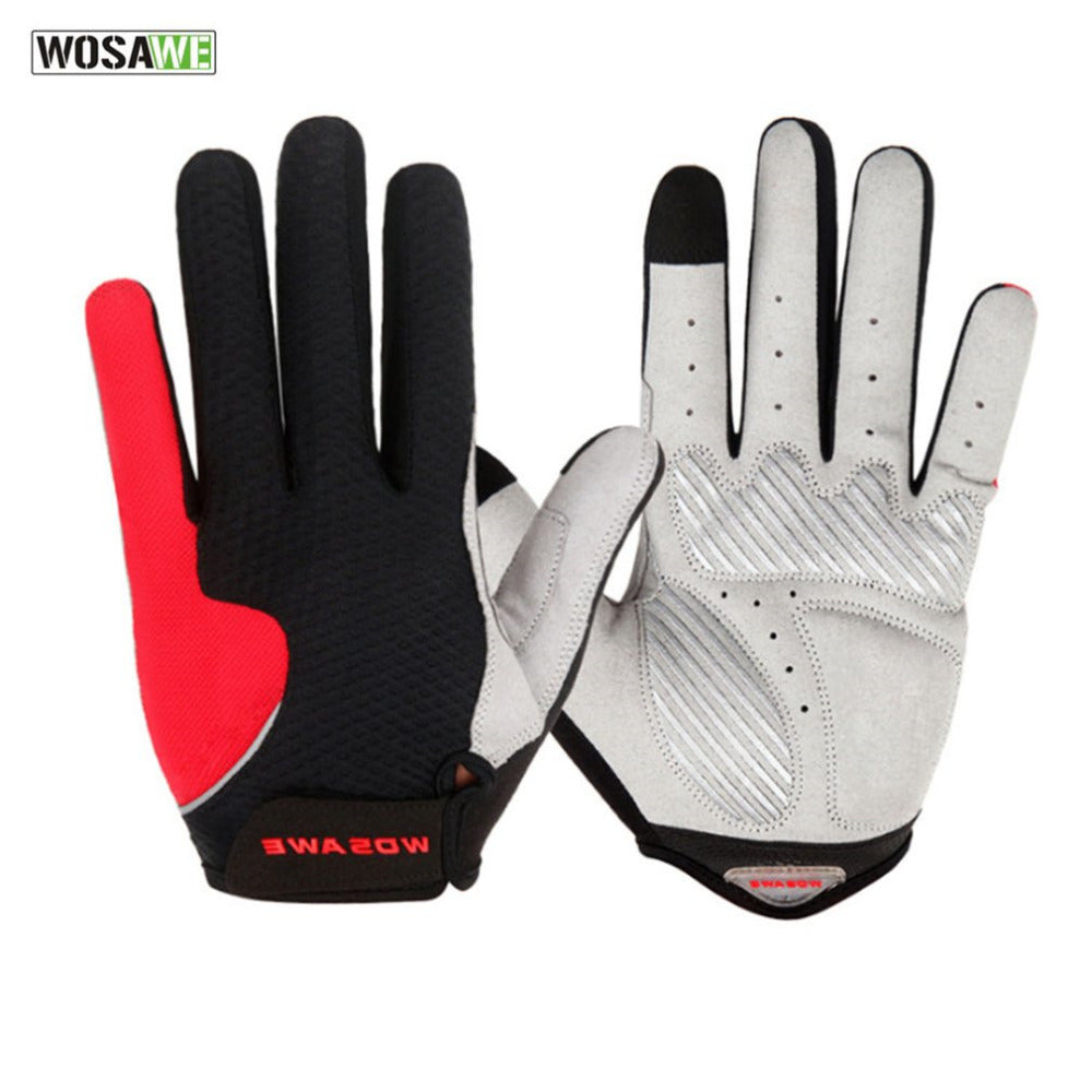 WOSAWE Cycling Anti Slip Bike Gloves Full Finger Sports Touch Screen Gloves Wrist Hand Protect Elastic Shockproof Breathable New
