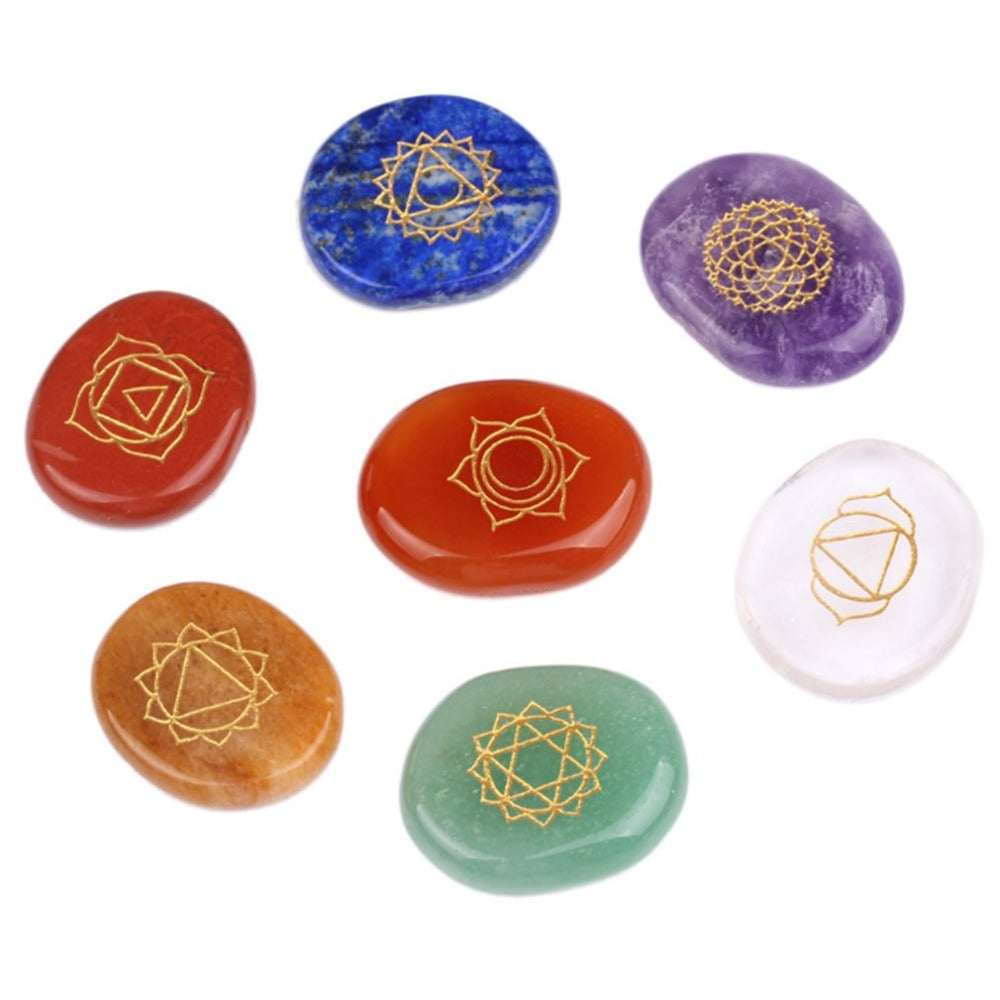 Reiki Chakra Healing Stones With Engraved Symbol Natural Irregular Crystal Stone Grinding Seven Healing Energy Balance System