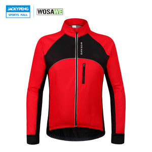 WOSAWE Thermal Cycling Jackets Winter Warm Up Bicycle Clothing Windproof Waterproof MTB Mountain Road Bike Jersey Wind Coat