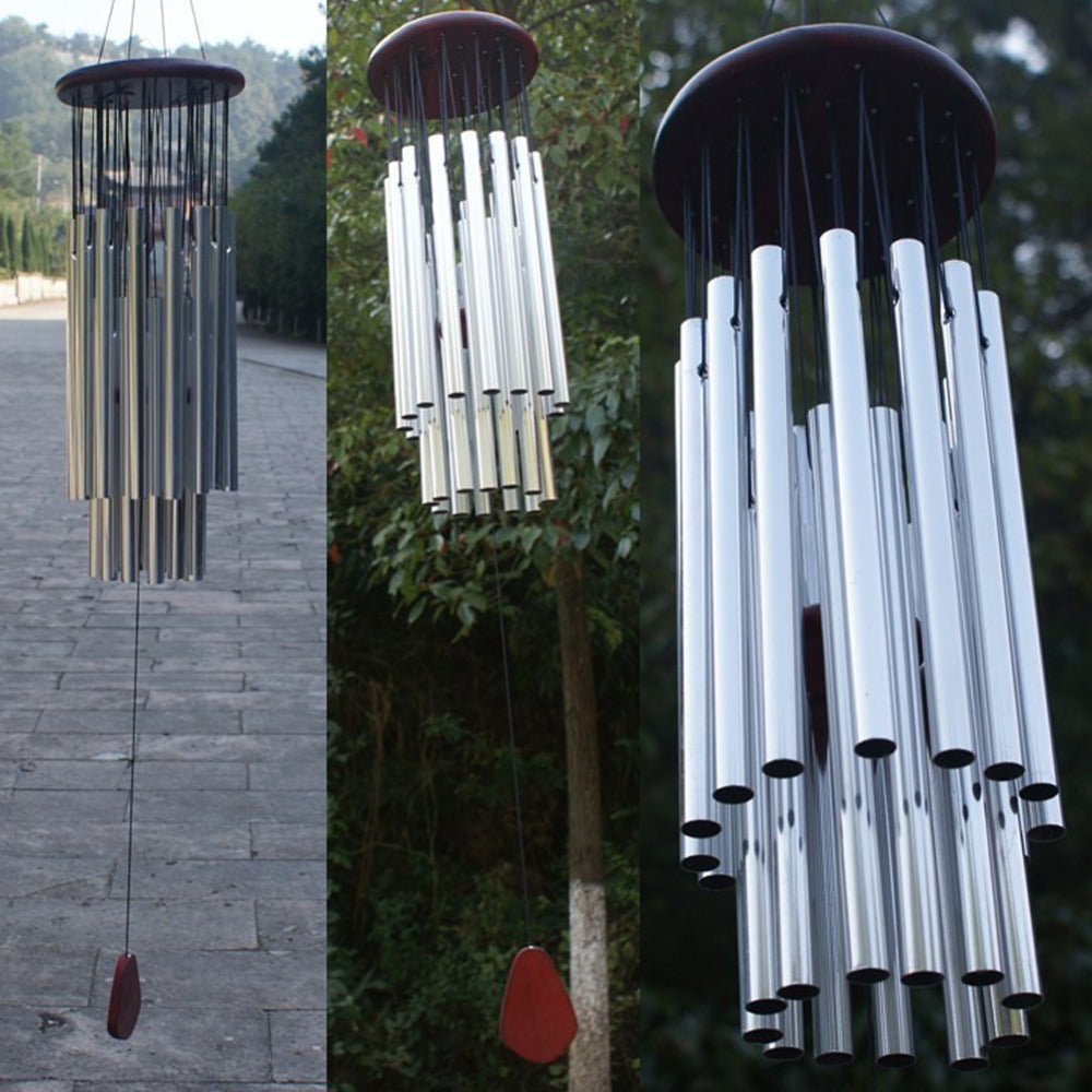 Silver 27 Tubes Wind Chimes for Yard Garden Decoration Hanging Ornaments Metal Wind Chimes Craft Gifts