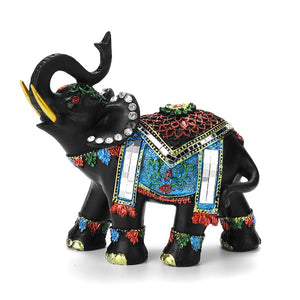 Resin Feng Shui Elegant Elephant Statue Lucky Wealth Figurine Sculpture Miniature Collectibles Gift Home Decoration Crafts
