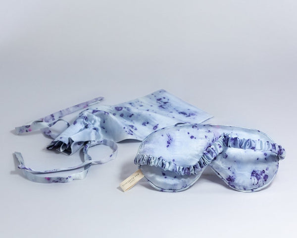 Purple Carnation Silk Eye Mask + Travel Pouch