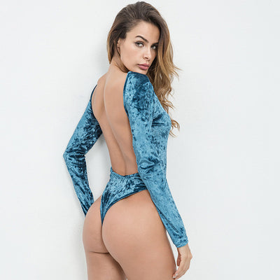 Backless Velvet Bodysuit