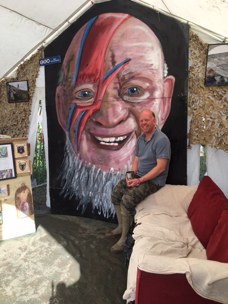 Michael Eavis Glastonbury David Bowie Portrait Painting Graffiti Stencil Shed Syd