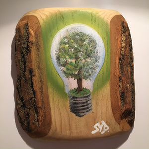 Tree painting on Ash Wood by Syd of the Stencil Shed, Graffiti Stencil