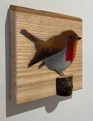 """Robin"" 2020 on Ash with Bark area of interest across the top - ready to hang or will sit on a shelf"
