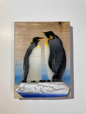 Penguin duo on Ash with shared reclaimed 3D bark iceberg - New piece for 2020