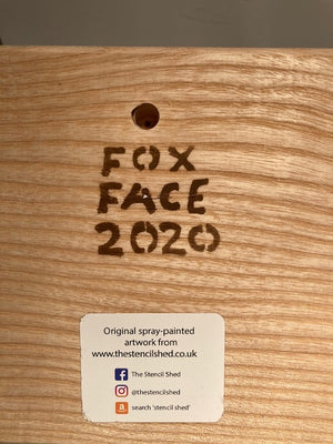 Fox Portrait - New for 2020 - Christmas gift on Ash wood - spray painted artwork with fine by hand detail on eyes - size 14 x 14cm