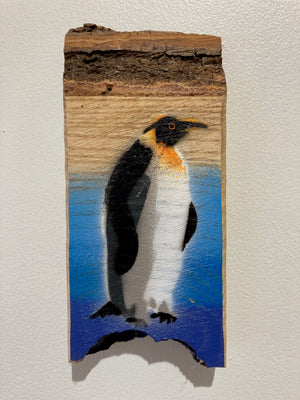 Penguin - Picture Painting on unique piece of Ash wood - Last chance to buy