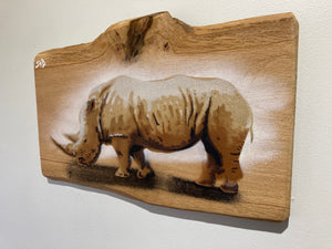 Rhino - Artists Choice artwork on Ash wood - Handmade and signed limited edition