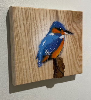 Kingfisher Stencil Painting on Ash Wood - Spray painted Picture - 14 x 12cm