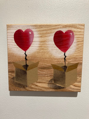 Twin 'Heart Balloon in a Box' Lockdown present for loved one - Handmade Stencil artwork - 16 x 14cm - Ready to hang