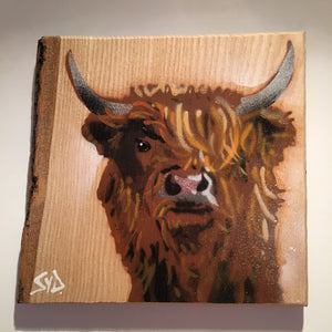 highland cow art graffiti wood Scotland