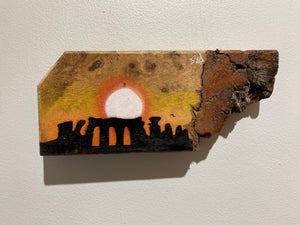 Stonehenge - Signed Spray painted Artwork on Beautiful Unique barky piece of Oak - Real on off piece