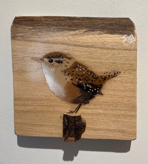 Jenny Wren painting - signed stencil artwork on oak