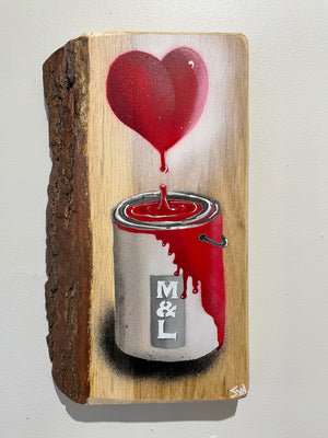 Heart and Paint Pot Artwork - Oak 2
