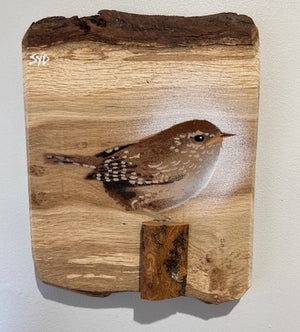 Wren new for 2021 - Handmade artwork sprayed onto oak wood with 3D stump, bark across the top