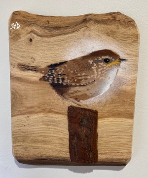 Wren new for 2021 - Spray painted on Oak wood with 3D stump - Handmade in Wiltshire, UK