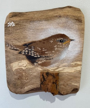 Wren, British bird, countryside artwork, art, wooden, natural interior trend , handmade , graffiti, Syd