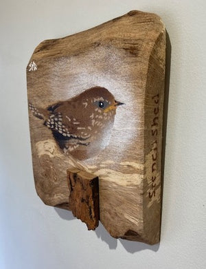 Wren new for 2021 - On oak wood with 3D stump - handmade with stencils a original sprayed painted  artwork