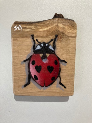 Ladybird on Oak - Handmade Artwork on unique piece with notch - approx size 13 x 17cm