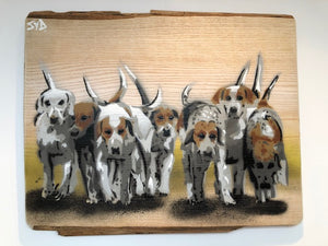 Hounds - Countryside pack of hounds - Handmade in UK - Stencil Art Dog Painting on Ash Wood 40 x 34cm
