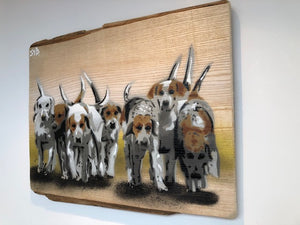 Hounds - Countryside pack of hounds - Stencil Art Dog Painting on Ash Wood 40 x 34cm