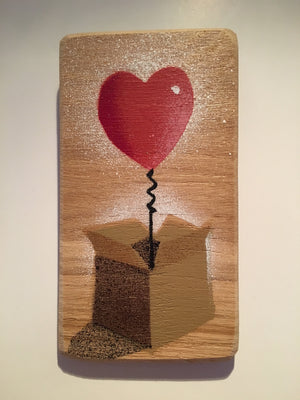 'Heart Balloon in a Box' Lockdown present for loved one - Handmade Stencil artwork - Spray painted painting on Ash - 8 x 14cm