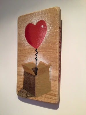 Heart Balloon in a Box Valentines Art Handmade Stencil artwork - Spray painted painting on Ash - 8 x 14cm