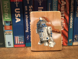 R2 D2 Spray Can Micro Stencil Graffiti on Ash 8 x 14cm