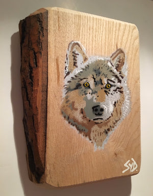 wolf wood picture art buy