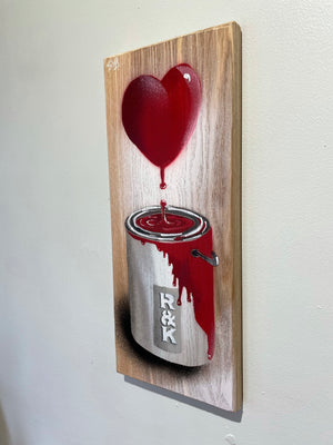 'What Goes Up' - Personalised Heart and Paint Pot Artwork - Valentines