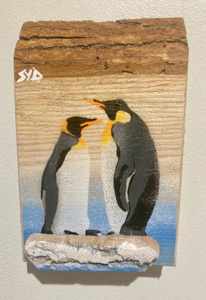 penguin, art, artwork, painting, stencil, picture, wood, natural look trend, Antartica, king penguin,