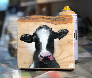 Single Cow - Single Bark Top - On ash wood - signed artwork - ready to hang