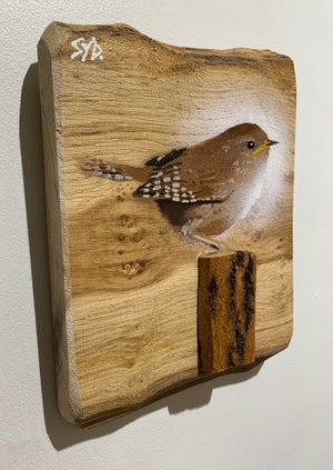 Wren new for 2021 - on Oak wood with large 3D stump - size 20 x 16cm