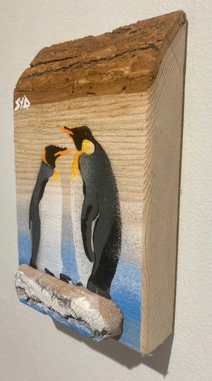 Penguin duo - New artwork for 2020 - Barky ash wood with shared 3D iceberg - signed art