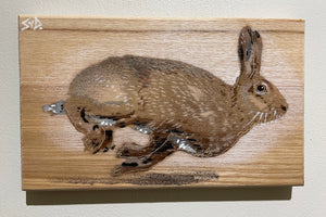 hare painting wood running