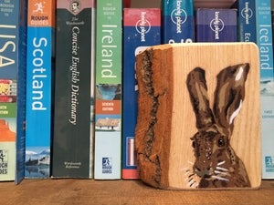 Hare Stencil Artwork Painting on Ash Wood - Handmade Picture - 8 x 12cm
