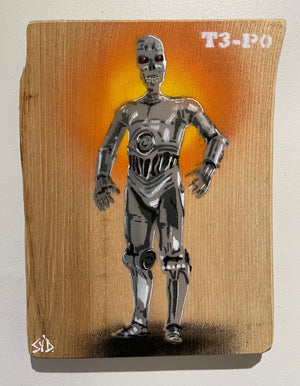 T3-P0 - Terminator CP30 Star Wars Fun Stencil Mash Up - size 22 x 32cm on Ash wood