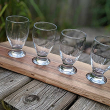 live edge walnut beer flight. Four beer glasses.