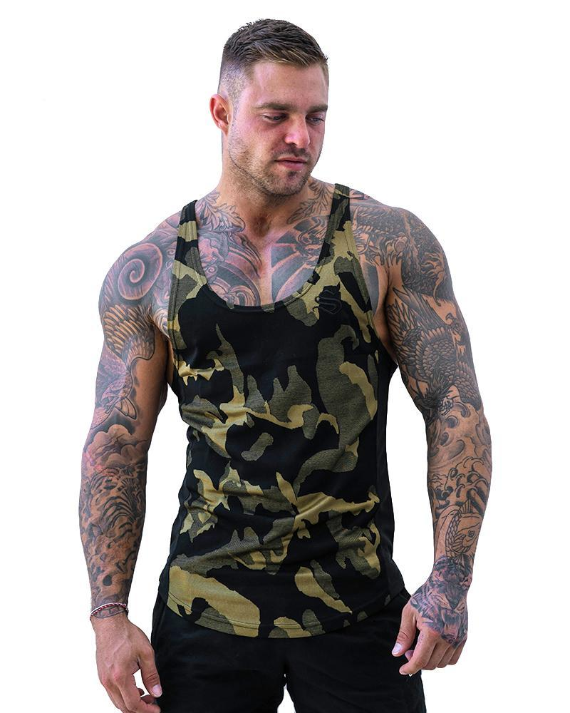 Camolite Taperback Singlet Mens Strong Liftwear S Green/Yellow