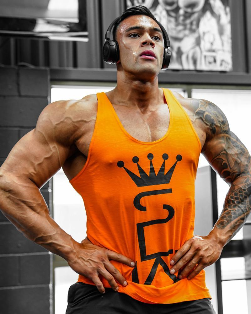 Crown Monarch Taperback Singlet Mens Strong Liftwear S Orange