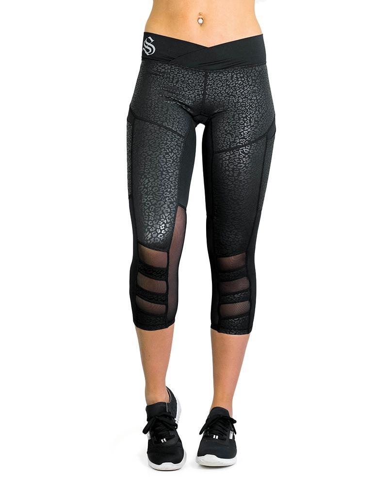 Essential 3/4 Compression Pants Womens Strong Liftwear XS Black Leopard