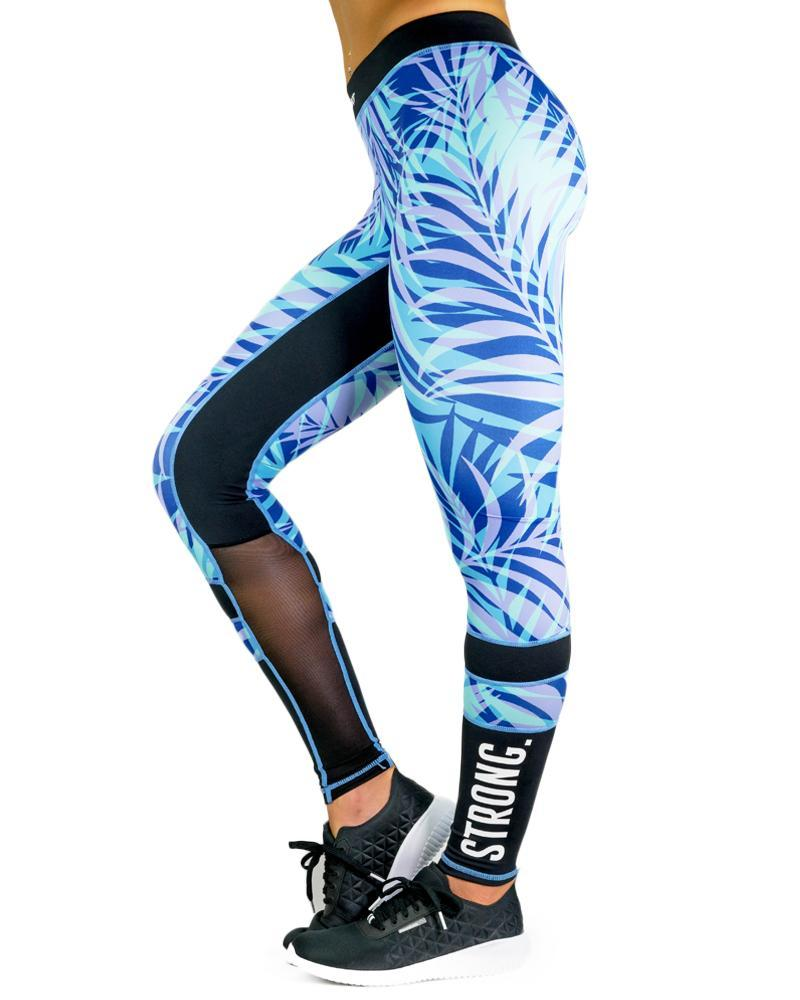 Island Series Compression Pants Womens Strong Liftwear XS Blue Palm