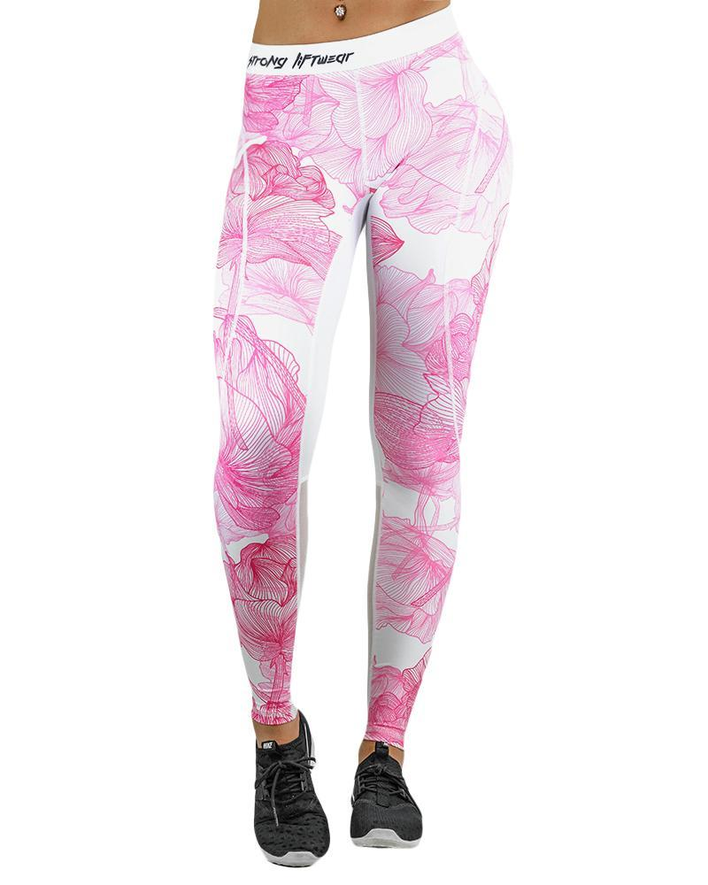 Island Series Compression Pants Womens Strong Liftwear XS Pink Flower