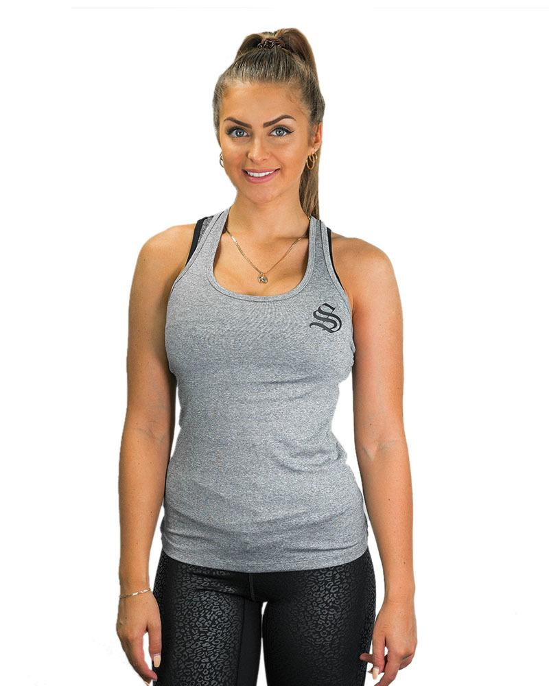 Ladies Active Mesh Racerback Singlet Womens Strong Liftwear XS Grey