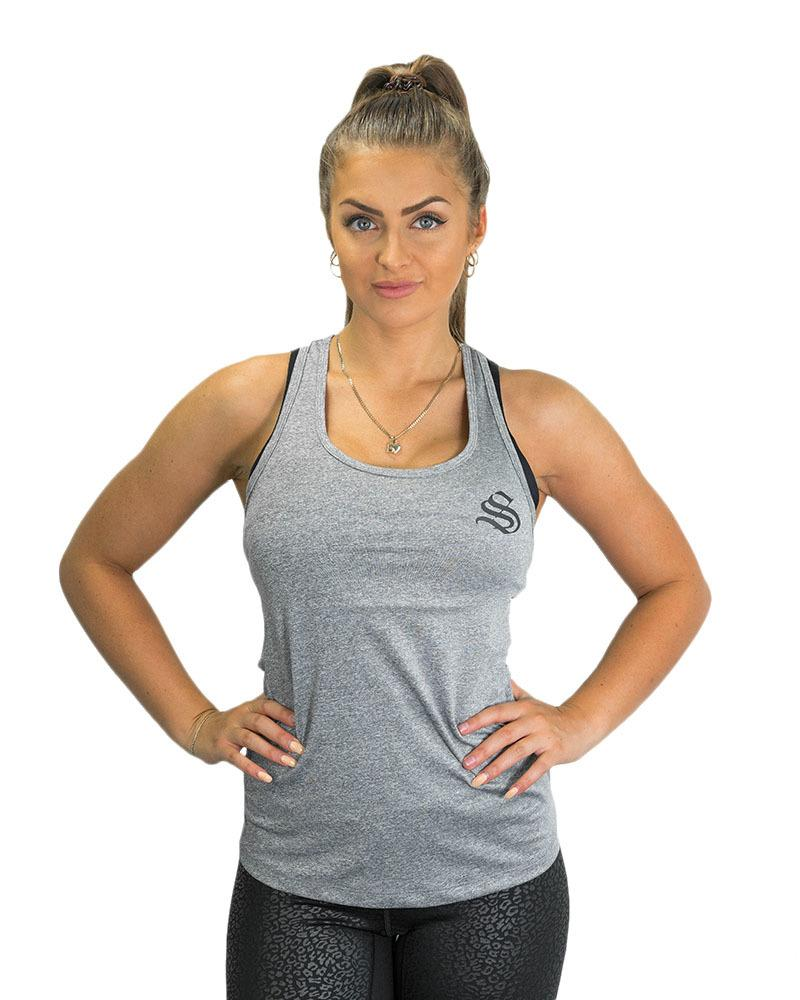 Ladies Active Racerback Singlet Womens Strong Liftwear XS Grey